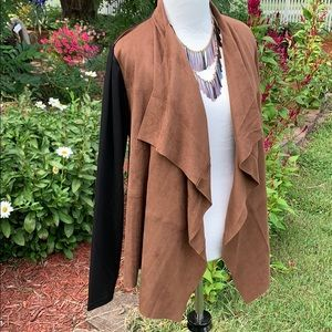 Foxcroft faux-suede front waterfall jacket M